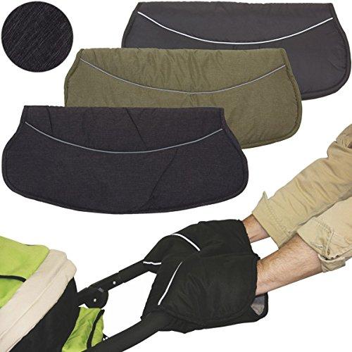 Handwärmer MELANGE/Handschuh für Kinderwagen/Buggy / Sportwagen PONGEE + CORAL-FLEECE (Anthrazit MELANGE)