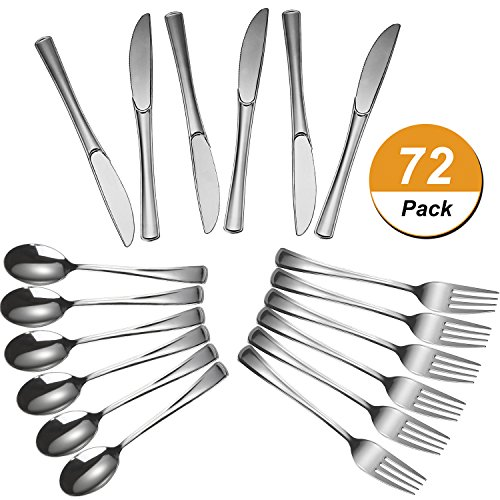 Plastic Silverware Disposable Cutlery Utensils Cutlery Heavy Duty Tableware Bulk Flatware Set for Party Supplies, Including 24 Plastic Forks, 24 Plastic Spoons and 24 Plastic Knives, Pack of 72