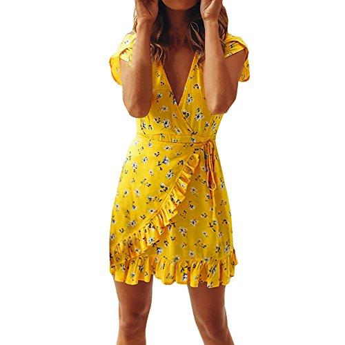 Damen Freizeitkleid, Sumeiwilly Kurzarm Übergröße Hemdkleid Blusekleid Schulterfrei - Klassische Flapper Sexy Kostüme