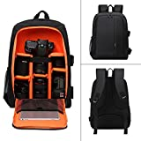 Beaspire Professional Large Capacity Multi-function Waterproof Anti-shock Camera Backpack DSLR Backpack Camera Bag with Tripod Strap and Rain Cover for Canon, Nikon, Sony, Olympus, Samsung, Panasonic, Pentax Camera Accessories and Laptops Tablets (Orange)