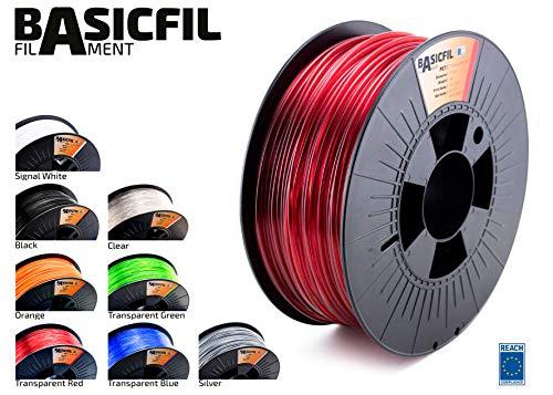 BASICFIL PET 2.85mm, 1 kg filamento de impresión 3D, Rojo transparente