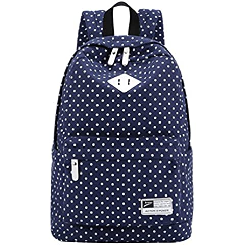 MingTai Mochilas Escolares Mujer Backpack Mochila Escolar Lona Grande Bolsa Vendimia Casual Juvenil Chica Lunares Colegio