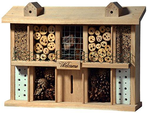 Amazon Hotel (Luxus-Insektenhotels 22625e Eichenholz-Insektenhotel Landsitz Superior, fertig gebautes Insektenhaus, 47x34x12,5 cm, Bienenhotel aus stabilem Vollholz, Marienkäferhaus/Schmetterlingshaus XXL)