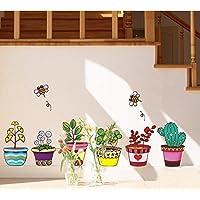 ufengke® Plantas en Macetas de Colores y Abejas Lindas Pegatinas de Pared, Sala de Estar Dormitorio Removible Etiquetas de la pared / Murales