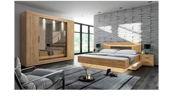 Komplettset Kleiderschrank Bett 160 X 200 Cm Nachttische Kommode Schrank