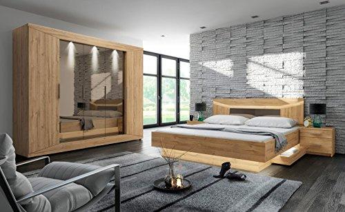 Schlafzimmer Set 'Rubina 2' Bett 2 Nachttische Schrank inkl. Beleuchtung Eiche