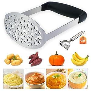 TedGem Kartoffelstampfer Edelstahl Kartoffel Stampfer,Kartoffelpresse für cremiges Kartoffelpüree, Kartoffelbrei, Gemüse und Früchte - mit Geschenk Schäler