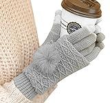 Butterme Guanti invernali Guanti Touchscreen Knit GlovesThick antivento guanti caldi guanti con pelliccia del coniglio sfera per le donne gli uomini (Grigio chiaro)