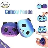Slow Rising Squishies Jumbo, Toamen 2PCS Fun Galaxy Panda Scented Squishy Charm Slow Rising Simulation Kid Toy Key Cell Phone Pendant Strap Gift