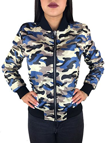 Worldclassca DAMEN CAMOUFLAGE BOMBER JACKE MILITÄR GRÜN BOMBERJACKE RETRO PILOTEN BIKER ÜBERGANGS BLOUSON FLIEGERJACKE ARMY PARKA KURZ MIT REIßVERSCHLUSS ZIP Camouflage Grün (Wende Blau)
