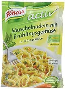 Knorr activ Muschelnudeln mit Frühlingsgemüse Nudel-Fertiggericht 2 Portionen (3 x 500 ml)