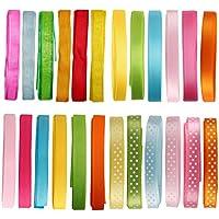Laribbons 3/8 '' 24 yard Pack 1 Reel Craft Tape - raso, grosgrain, pois, fiocchi (Tessuto Raso Verde)