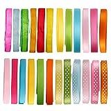 Laribbons 3/8 '' 24 Pack 1 yarda Carrete de la cinta Craft - Satén, grosgrain, lunares, lazos combinados Cada 6 Patrón