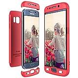 CE-Link für Samsung Galaxy S6 Edge Hülle Hardcase 3 in 1 Handyhülle Ultra Dünn Hartschale 360 Grad Full Body Schutz Schutzhülle Bumper - Rot