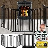 Deuba Kaminschutzgitter 310cm Kinderschutzgitter aus 5 Elemente Schutzgitter 15kg Ofenschutzgitter Absperrgitter