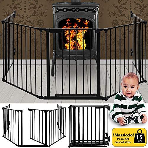 Deuba® Kaminschutzgitter 310cm Kinderschutzgitter aus 5 Elemente Schutzgitter 15kg Ofenschutzgitter Absperrgitter -