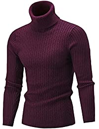 aa41a2cf149 iHENGH Hiver Hommes Mince Tricot Chaud Pull col Haut Pull Pull col roulé Top