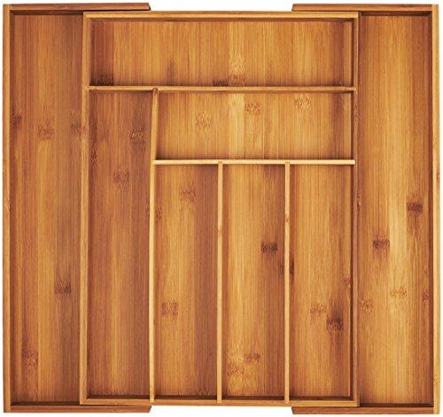 AmazonBasics - Schubladeneinsatz für Küchenschränke, ausziehbar, Bambus