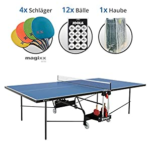 Sponeta S 1-73e Magixx Set XL – Tischtennisplatte S 1-73e, 4X Magixx Schläger, 12x Joola Bälle, Abdeckhaube