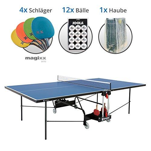 Sponeta S 1-73e Magixx Set XL - Tischtennisplatte S 1-73e, 4x Magixx Schläger, 12x Joola Bälle, Abdeckhaube