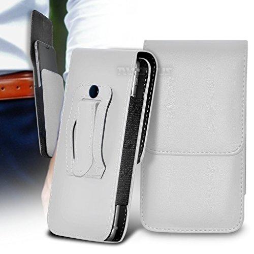 Aventus (Weiß) BlackBerry Leap Qualitäts-Kunstleder Vertikal Executive-Beutel-Pistolenhalfter-Gurt-Klipp-Abdeckung Fall -