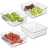 mDesign Set da 4 grandi contenitori alimenti senza coperchio - Pratico modello di contenitori in plastica per alimenti di ogni tipo - Contenitore frigo multiuso con aperture laterali - trasparente