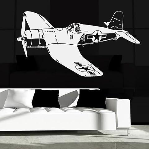 War 2 del avión con el piloto de aeroplanos mundo Pegatinas de Pared Transporte Arte Adhesivos disponible en 5 tamaños y 25 colores Mediano Verde musgo