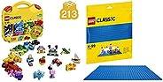 LEGO Classic Creative Suitcase Building Blocks for Kids (213 pcs) 10713 & LEGO Classic Blue Baseplate Supp