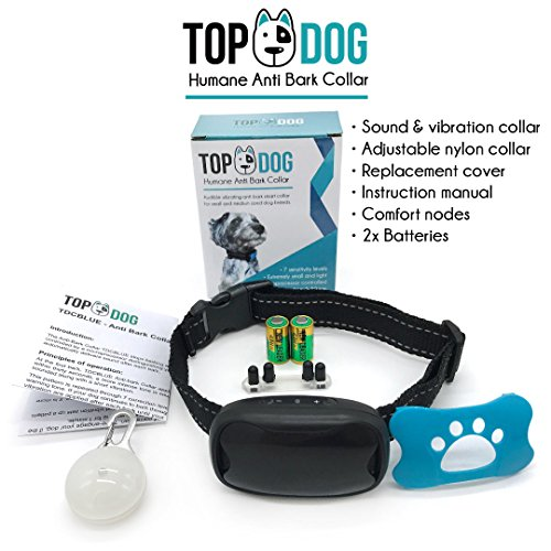 Dog-Anti-Bark-Collar-with-free-LED-Light-by-TopDog-Small-Medium-Large-Dogs-7-Adjustable-Levels-with-sound-and-vibration-No-Shock-Harmless-Humane-Stops-Dogs-Barking-Additional-Spare-Battery-Fascia-incl
