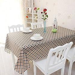WSS Mantel de tela escocesa impermeable y mantequilla de lavado libre de aceite Mesa de café Mantel de PVC Tabla de plástico de mesa ( Color : Brown color lattice , Tamaño : 137*210cm )