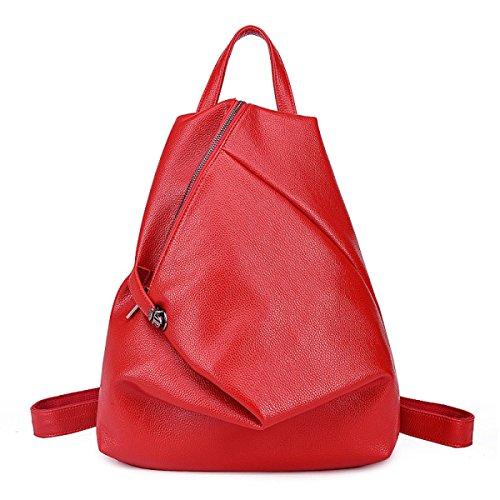 Korean College Wind Weiches Leder Freizeit Reisen Meine Damen Taschen Red