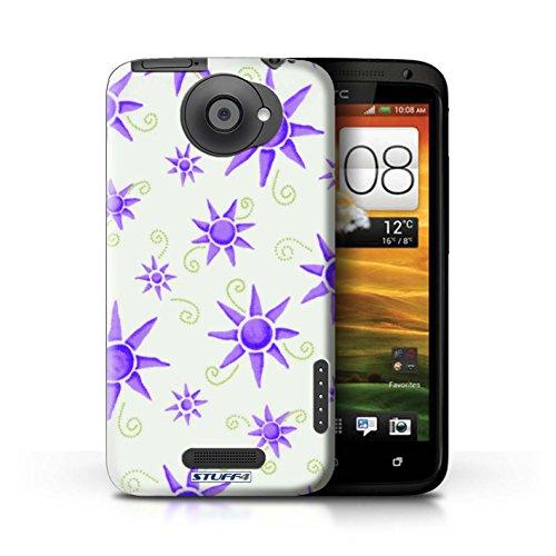 Kobalt® Imprimé Etui / Coque pour HTC One X / Vert/Bleu conception / Série Motif Soleil Violet/Blanc