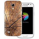 dessana Holz Maserung Transparente Silikon TPU Schutzhülle 0,7mm Dünne Handy Tasche Soft Case für Samsung Galaxy S4 Mini Pinien Holz