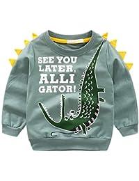 Reciy Camiseta de Manga Larga para Niño 1-8 Años, Diseño de Dinosaurio