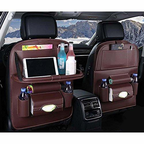 Preisvergleich Produktbild Alger 2Stück Auto Rückenlehne Aufbewahrungstasche zum Aufhängen Tasche Mehrzweck-Aufbewahrungsbox faltbar Esstisch, braun