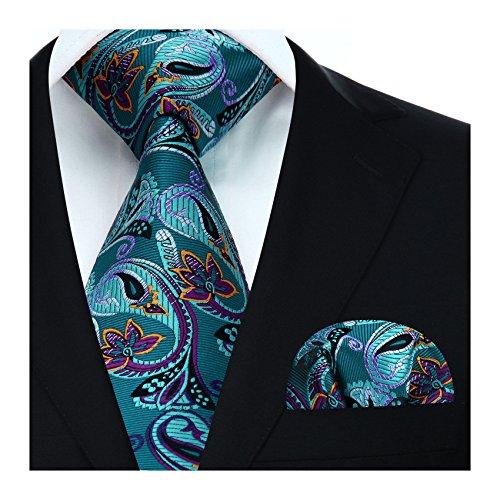Hisdern Herren Krawatte Blumen Paisley Hochzeit Krawatte & Einstecktuch Set Aqua & Lila
