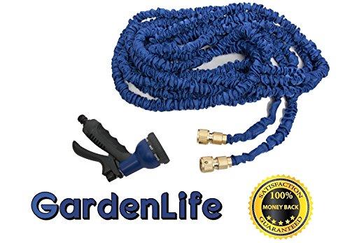23 Meter Flexibler Gartenschlauch - Extra leicht & platzsparend   nicht knickend von GARDENLIFE inkl. Brause mit 8 Funktionen und Comfort Grip Griff - extra starker Schlauch. Erhältlich in 4 Farben