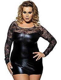 Lukis Damen Übergrößen Negligee Schwarz Nachthemd Nachtkleid Clubwear