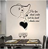 Mrlwy Love Kitchen Decal Le Sue Labbra Bevono Acqua Il Suo Cuore Beve Vino Cucina Vinile Adesivo Regalo Speciale Per Moglie 48X42Cm