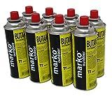 Marko Outdoor Butane Camping Stove Gas Canister Refill Bottles (8 Bottles)