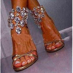 Rom High Heel Sandalen Rhinestone Kristall Kette Rom High Heel Sandalen, Golden, Sechsunddreißig