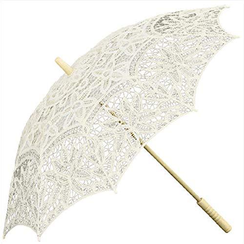 Weddix Hochzeitsschirm - Vintage Schirm in Creme mit Spitze für die Hochzeit als praktisches Accessoire für die Braut