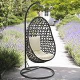 yopih Cocoon–Cojín de silla y colgando de ratán balancín para jardín Patio colgante Wicker Weave Muebles