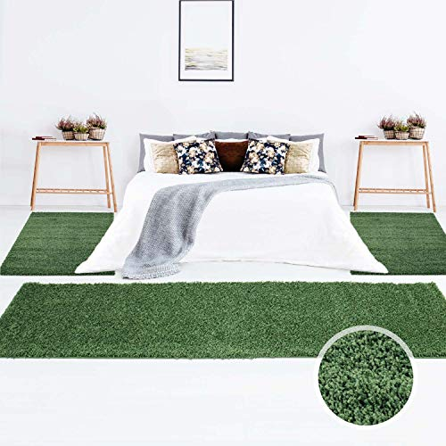 Teppich Shaggy Hochflor Langflor Einfarbig Grün Öko Tex Bettumrandung 2x 80x150 & 1x 80x300