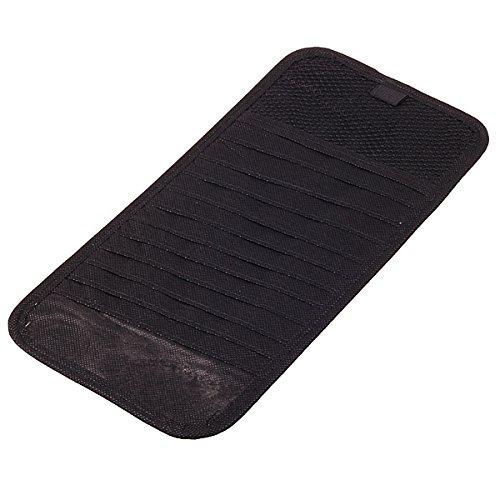 HitCar Sonnenblende Tasche (Auto CD/DVD Aufbewahrung inkl. Stifthalter, geeignet für (12 CDs)) mit Clips, Schwarz