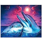 erthome Diamant Malerei Werkzeug Set Liebe Delfine DIY 5D Diamant Stickerei Malerei Kreuzstich Wohnkultur Handwerk (C)