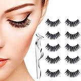 5 Pair False Eyelashes, 3D Natural Thick Fake Lashes Long Handmade False Eyelashes