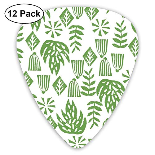 Tropical Palms Palm Print Green Linocut Block Print Kids Tropical Leaves Leaf Monstera Surf Hawaii 2017_4197 Classic Celluloid Picks, 12-Pack, For Electric Guitar, Acoustic Guitar, Mandolin, And Bass (Surf-cookie-cutter)