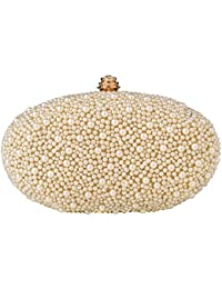 Paradox Womens Pearls Party Fashion Evening Hand Box Clutch Bag, White