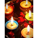 Stuvi Trendz Multicolor LARGE SIZE Tea Light / Floating Candle (SET OF 14 DIYAS) Candles/Multicolor Diyas - Up To 2 To 3 Hr Burning Time